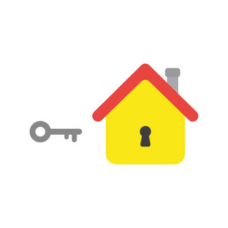 Flat design vector illustration concept of grey key and yellow house with black keyhole symbol icons on white background.