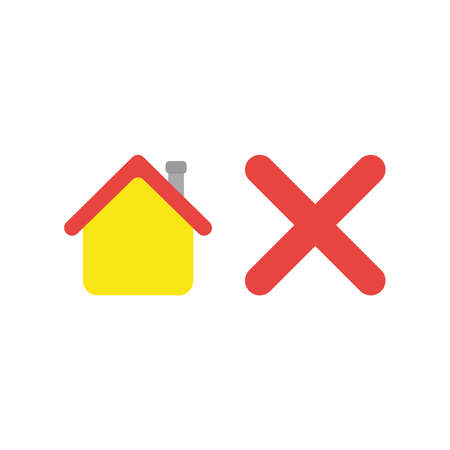 Flat design vector illustration concept of yellow house with red x mark symbol icon on white backgrodun. Ilustrace