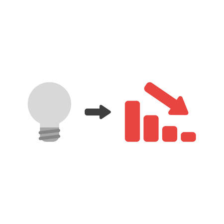 Flat design vector illustration concept of grey light bulb idea with red sales bar chart symbol icon moving down on white background.
