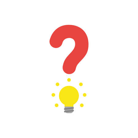 Flat design vector illustration concept of red question mark with yellow glowing light bulb symbol icon on white background.