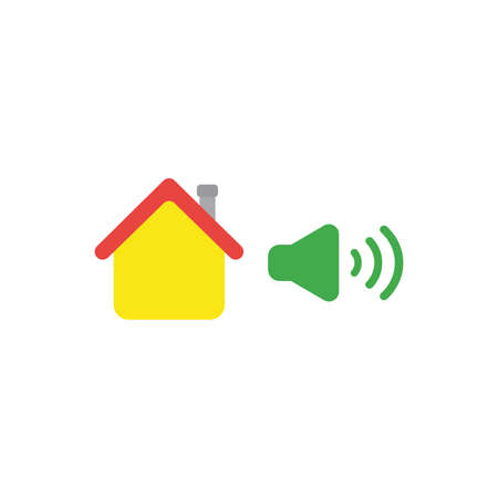 Flat design vector illustration concept of yellow house with green high speaker sound, loud voice symbol icon on white background. Illustration
