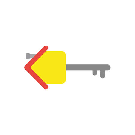 Flat design vector illustration concept of yellow house with grey key symbol icon on white background.