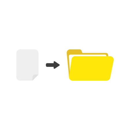 Flat design vector illustration concept of blank paper into yellow open folder symbol icon on white background.