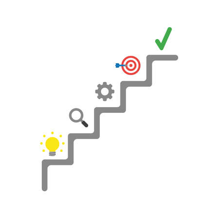 Flat design vector illustration concept of grey stairs with glowing yellow light bulb idea, magnifying glass, gear, bulls eye with dart in the center and green check mark symbol icon.
