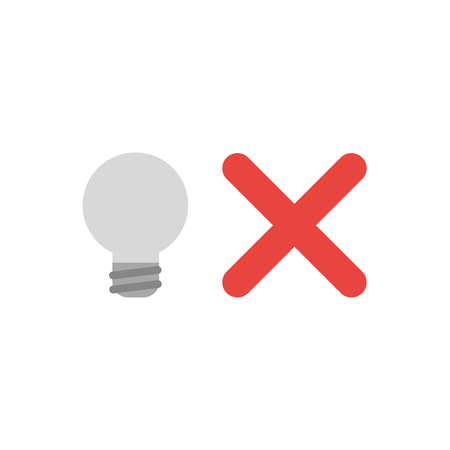 Flat design vector illustration concept of grey light bulb with red x mark symbol icon on white background.