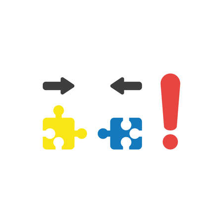 Flat design vector illustration concept of two pieces of yellow and blue jigsaw puzzle that are incompatible with each other and red exclamation mark symbol icon. Illustration