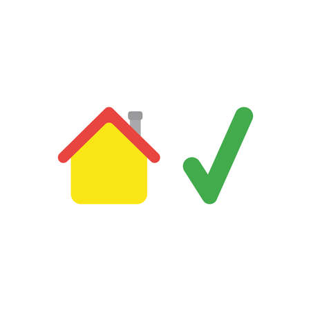 Flat design vector illustration concept of yellow house with green check mark symbol icon on white background. Illustration