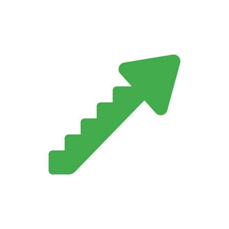 Flat design vector illustration concept of green arrow stairs symbol icon moving up on white background.