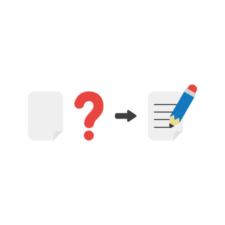 Flat design vector illustration concept of blank paper with red question mark and writing on paper with blue pencil symbol icon on white background.