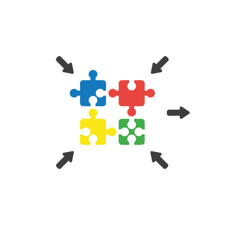 Flat design vector illustration concept of four jigsaw puzzle pieces symbol icon connecting on white background.