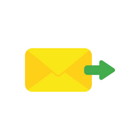 Flat design vector illustration concept of send message or email with yellow envelope and green arrow symbol icon moving right on white background.