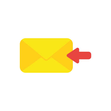 Flat design vector illustration concept of receive message or email with yellow envelope and red arrow symbol icon moving left on white background.