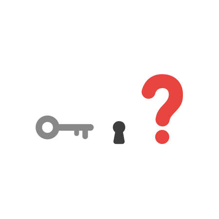 private access: Flat design vector illustration concept of grey key and black keyhole with red question mark symbol icon on white background. Illustration