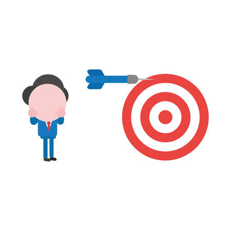 Vector cartoon illustration concept of faceless businessman mascot character with red and white bulls eye and blue dart symbol icon and miss the mark.