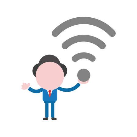 Vector cartoon illustration concept of faceless businessman mascot character holding grey wireless wifi symbol icon. Illustration