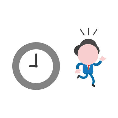 Vector cartoon illustration concept of faceless businessman mascot character running away from grey and white clock symbol icon. Çizim