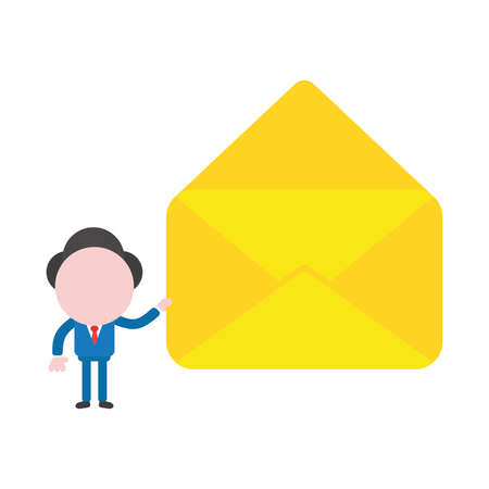 Vector cartoon illustration concept of faceless businessman mascot character holding yellow open envelope symbol icon. Illustration