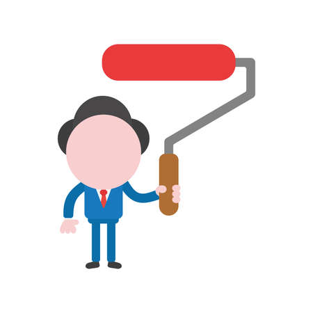 Vector cartoon illustration concept of faceless businessman mascot character holding red paint roller brush symbol icon. Illustration