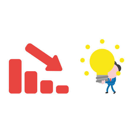 Vector cartoon illustration concept of faceless businessman mascot character walking, holding and carrying yellow glowing light bulb idea to red sales bar chart symbol icon moving down. Illustration