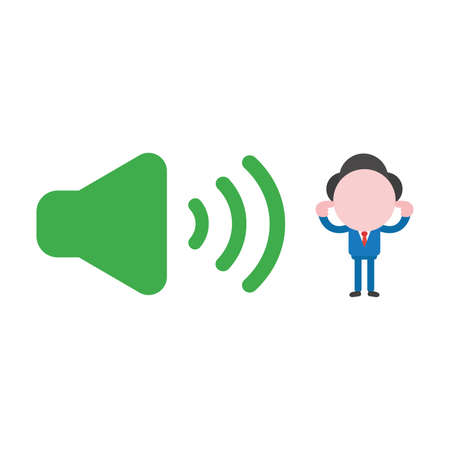 Vector cartoon illustration concept of faceless businessman mascot character with loud voice green speaker sound symbol icon and closed ears with fingers.