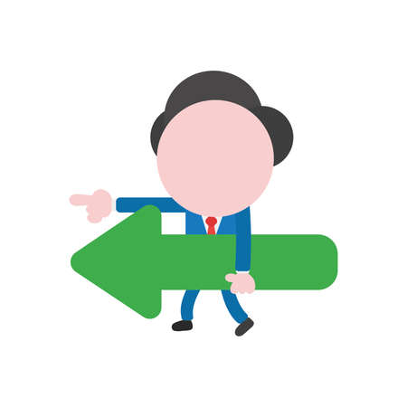Vector cartoon illustration concept of faceless businessman mascot character walking, carrying green arrow symbol icon pointing left.