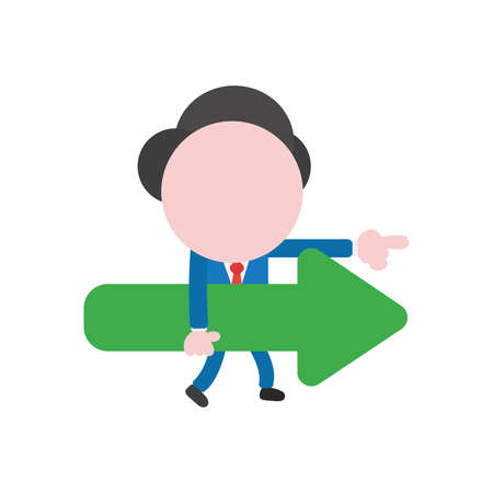 Vector cartoon illustration concept of faceless businessman mascot character walking, carrying green arrow symbol icon pointing right. Vettoriali