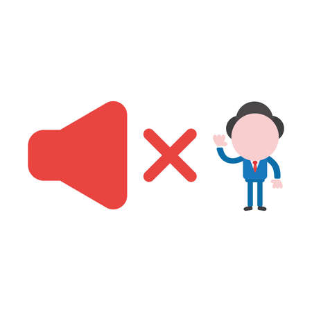 Vector cartoon illustration concept of faceless businessman mascot character with red speaker sound symbol icon off and can not hear.