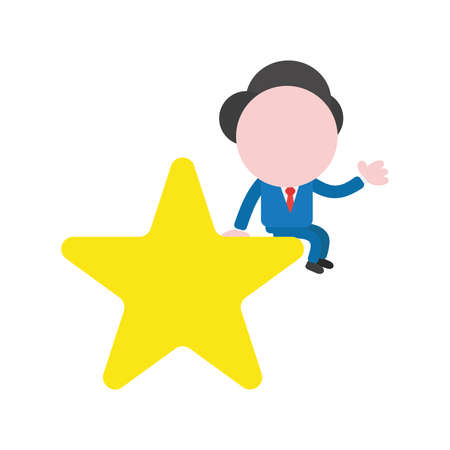 Vector cartoon illustration concept of faceless businessman mascot character sitting on yellow star symbol icon.