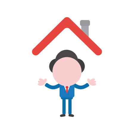 Vector cartoon illustration concept of faceless businessman mascot character under red house roof symbol icon.