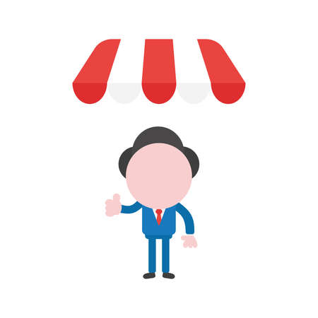 Vector cartoon illustration concept of faceless businessman mascot character gesturing thumbs up under red and white shop awning symbol icon. Illustration