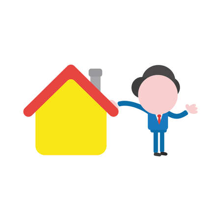 Vector cartoon illustration concept of faceless businessman mascot character leaning on yellow house symbol icon. Ilustração