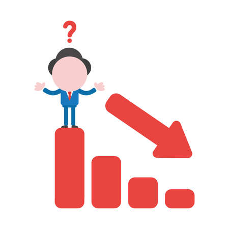 Vector cartoon illustration concept of faceless businessman mascot character confused with question mark and on red sales bar chart symol icon moving down.