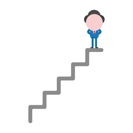 Vector cartoon illustration concept of faceless businessman mascot character at top of stairs symbol icon.