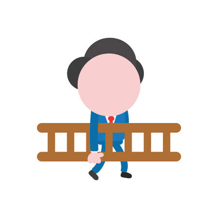 Cartoon illustration concept of faceless businessman mascot character walking and carrying brown wooden ladder symbol icon.