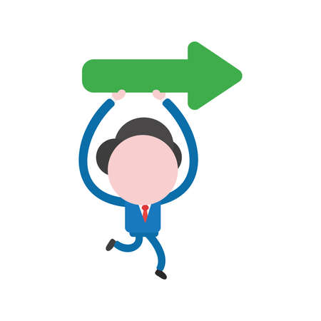 Cartoon illustration concept of faceless businessman mascot character running holding up and carrying green arrow symbol icon showing right.