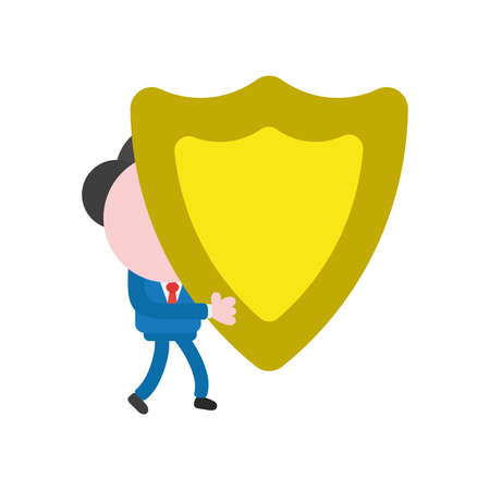 Cartoon illustration concept of faceless businessman mascot character walking and carrying yellow guard shield symbol icon.