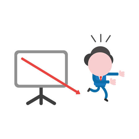 Vector cartoon illustration concept of faceless businessman mascot character running away from red arrow moving down and out of presentation chart board symbol icon. Stockfoto - 91830123