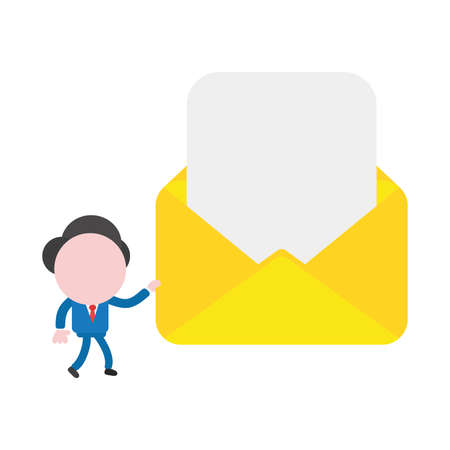 Cartoon illustration concept of faceless businessman mascot character walking and carrying yellow open envelope with blank paper symbol icon.