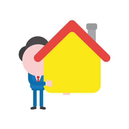 Cartoon illustration concept of faceless businessman mascot character holding yellow house symbol icon.