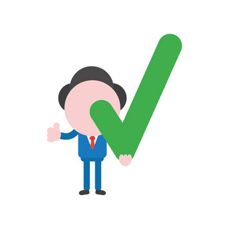 Cartoon illustration concept of faceless businessman mascot character holding green check mark symbol icon and gesturing thumbs up.