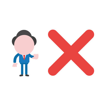 Cartoon illustration concept of faceless businessman mascot character with red x mark symbol icon and gesturing no sign.