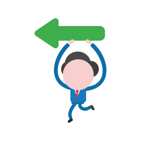 Cartoon illustration concept of faceless businessman mascot character running holding up and carrying green arrow symbol icon showing left. Illustration