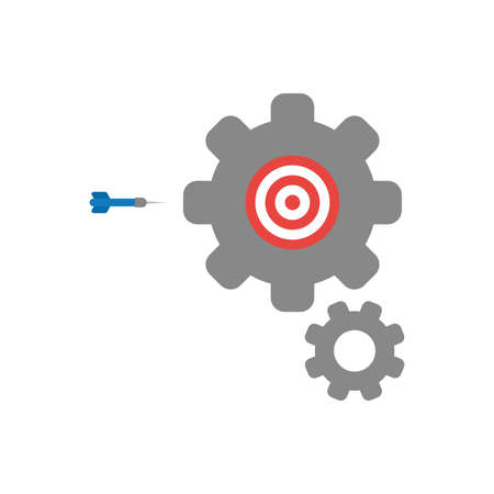 Flat design illustration concept of red and white bulls eye symbol icon inside grey gears with blue dart.