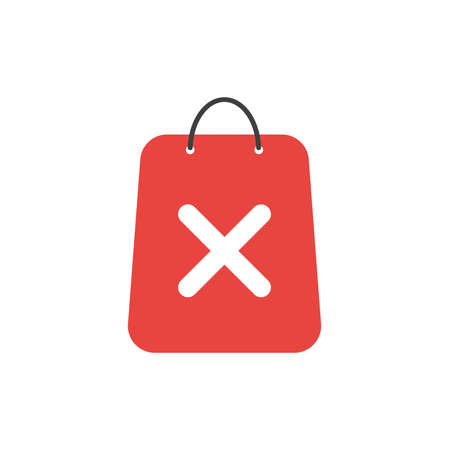 Flat design illustration concept of red shopping bag with x mark symbol icon.