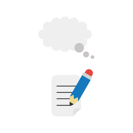 Flat design illustration concept of blue pencil writing on paper with grey thought bubble symbol icon. Vectores