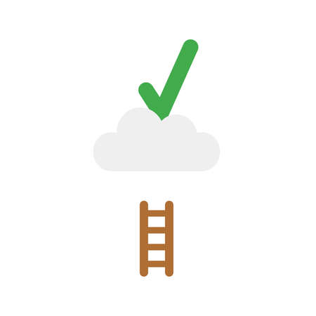 Flat design illustration concept of green check mark symbol icon on cloud with short wooden ladder.