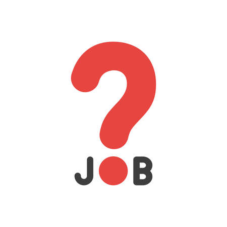 Flat design illustration concept of black job word with big red question mark symbol icon.