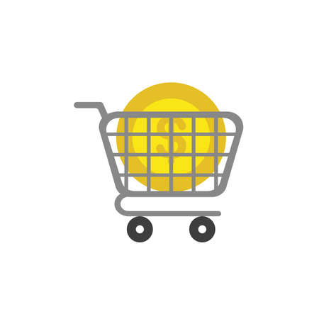 Flat design illustration concept of yellow dollar money coin symbol icon in grey shopping cart. 向量圖像