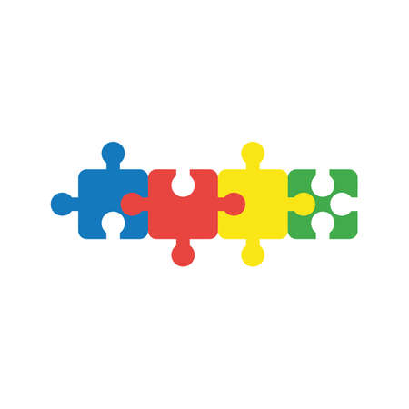 Flat design illustration concept of four part jigsaw puzzle pieces symbol icon connected to each other.
