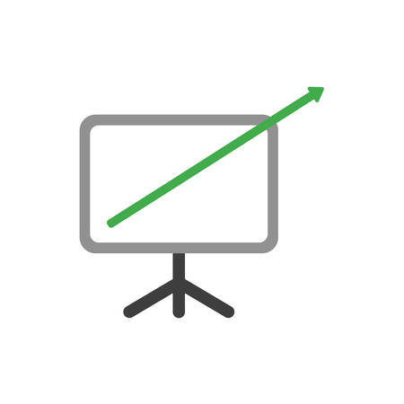 Green arrow moving up and out of presentation chart symbol icon. Vectores